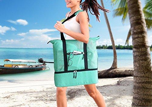 Bigforest mesh Beach Tote bag con cerniera in cima e borsa termica da picnic