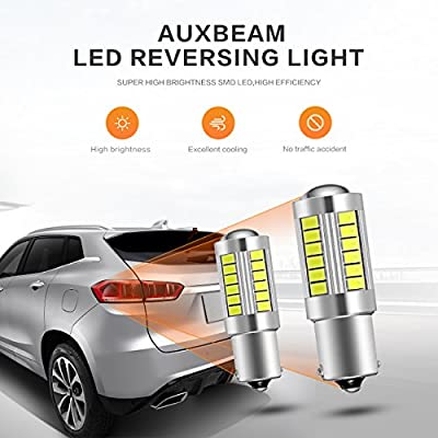 Auxbeam Extremely Bright 1156 P21W BA15S LED Light Bulbs 800LM 33Pcs 5630 SMD LED Bulb for Back Up Reverse Lights, Xenon White (Pack of 2): Automotive