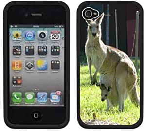 Kangaroo Handmade iPhone 4 4S Black Hard Plastic Case by icecream design