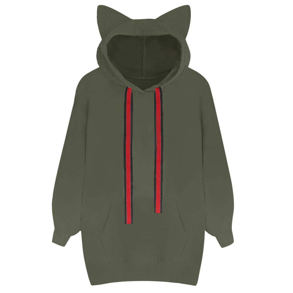 Molyveva Women Casual Cat Sweatshirt Hooded Pullover Pocket Long Sleeve Blouse