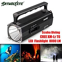 Features:LED: XM-L2 T6 Built-in 5000mAh battery The main purpose: Diving Diving depth: 130m Light mode: Strong, weak light, blasting flash Switch mode: Rotary switch (This is the rotary switch design,tightening the head of flashlight and the ...