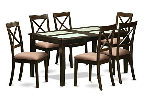 East West Furniture CAB7G-CAP-C 7 Pc Dining Room Set - Dining Glass Top Table and 6 Dining Chairs