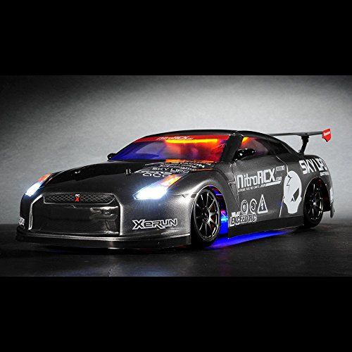 Exceed RC 2.4Ghz MadSpeed Drift King Brushless Edition 1/10 Electric Ready to Run Drift Car w/ LED Head Lights (Grey) ()