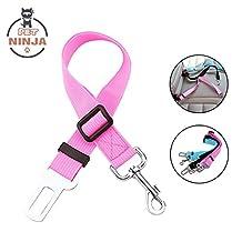 Pet Ninja Adjustable Pet Dog Seat Belt Durable Pet Dog Cats Car Vehicle Seatbelt Harness Pet Safety Leash Leads for Pets Dogs Cats(Pink/Blue/Black) (pink)