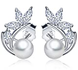 Infinite U 925 Sterling Silver Cubic Zirconia Simulated Pearls Jacket Wrap Stud Earrings for Women/Girls (D)