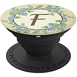Floral Monogram Letter F - Cute Monogrammed Gift For Women - PopSockets Grip and Stand for Phones and Tablets