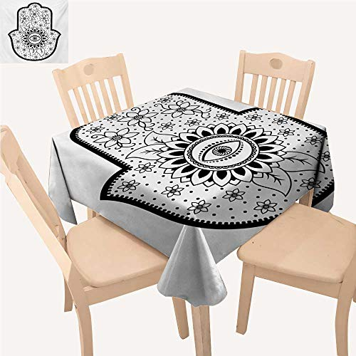 - WinfreyDecor Hamsa Dinning Tabletop Decoration Blooming Traditional Lily Flowers with All Seeing Eye Floral Curls Ethnic Charm Waterproof Table Cloth Black White W 54
