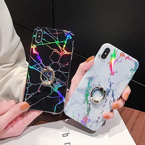 Uposao Kompatibel mit iPhone XS Max Hülle Glitzer Marmor Silikon Handyhülle Strass Diamant Handy Ring Ständer Halter Schutzhülle Glänzend Bling Silikon TPU Case Handytasche,Grau