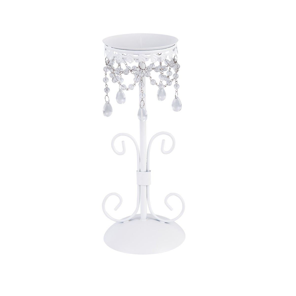 Decorative Iron Candles Holder, Europe Style Candles Stand with Crystal Bead for Living Room, Dining Table, Bar, White, 1 Pack by Manor