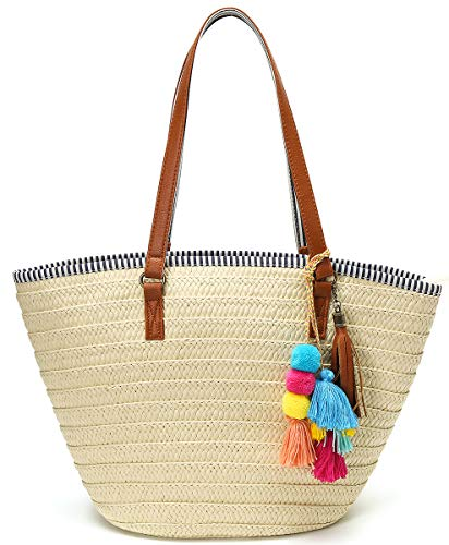 Straw Beach Bags Tote Tassels Bag Hobo Summer Handwoven Shoulder Bags Purse With Pom Poms Beige
