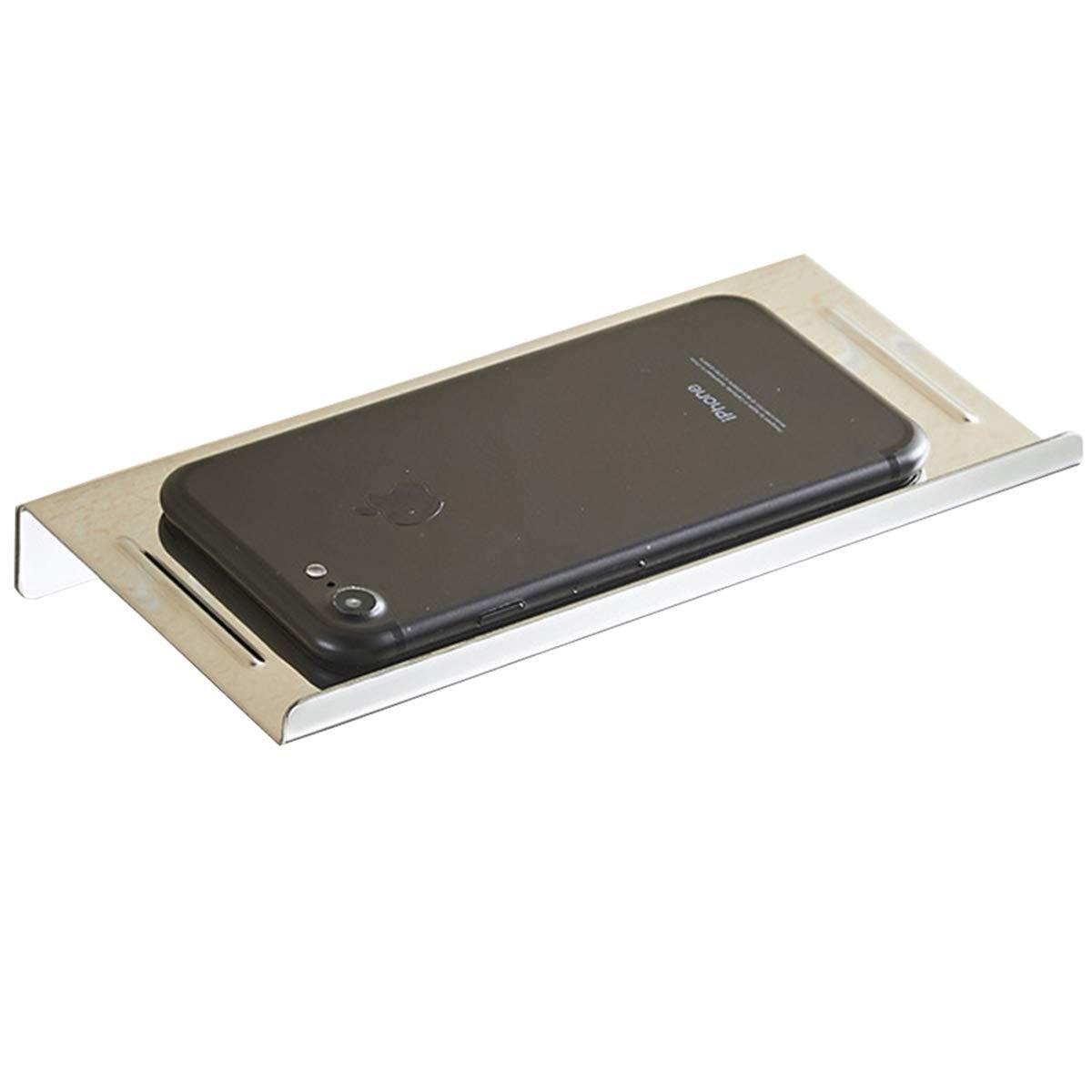 Flybath Bathroom Toilet Paper Phone Holder Shelf Carbon Steel Wall Mounted Matte Black Finish
