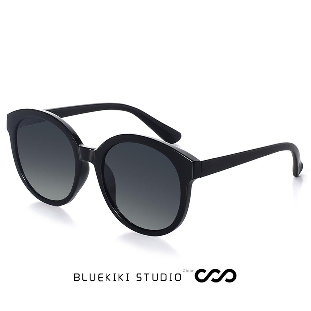 204d13a7abdd Amazon.com: BLUEKIKI YEUX Women Polarized Sunglasses Vintage Oversized  Round Mirror(Black, 55): Clothing
