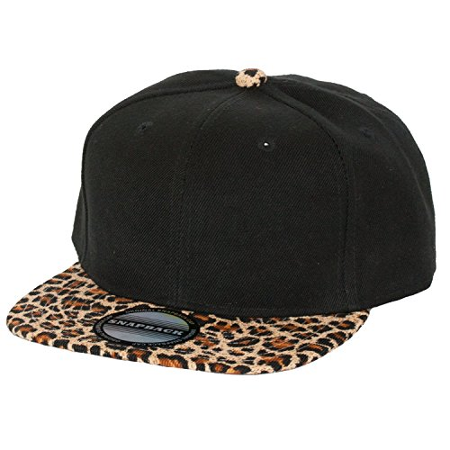 (Levine Hat Co Animal Print Hip Hop Snap Back Baseball Cap (Black/Leopard))