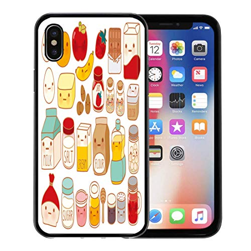 Emvency Phone Case for Apple iPhone Xs case,Collection of Lovely Cake Ingredient Cute Egg Adorable Milk Sweet Flour Kawaii Strawberry Girly Butter for iPhone X Case,Rubber Border Protective Case,Black ()