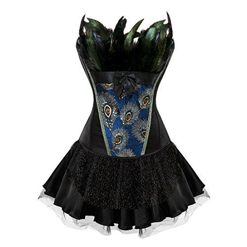 Halloween Lingerie - Halloween Plus Size Sexy Lingerie Fashion Lace up Corset Bustier Mini Tutu Petticoat Skirt Black Large
