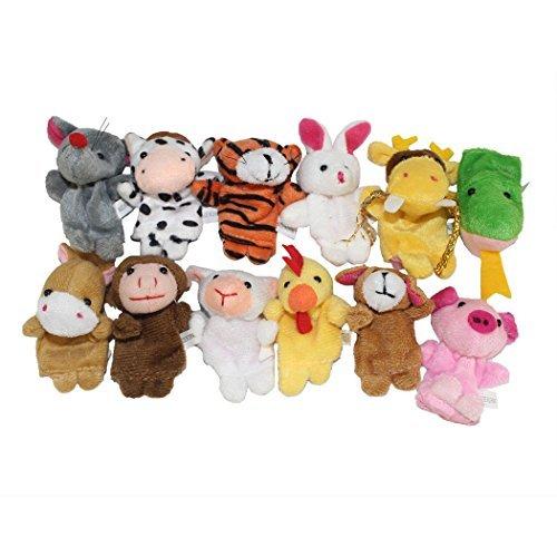 Finger Puppets Finger toys,12pcs Velvet Small animal in garden Baby Stories Helper, Finger Puppets Finger Toys Set ,Christmas Gift for kids(finger toy) (finger toy(12pcs animal))