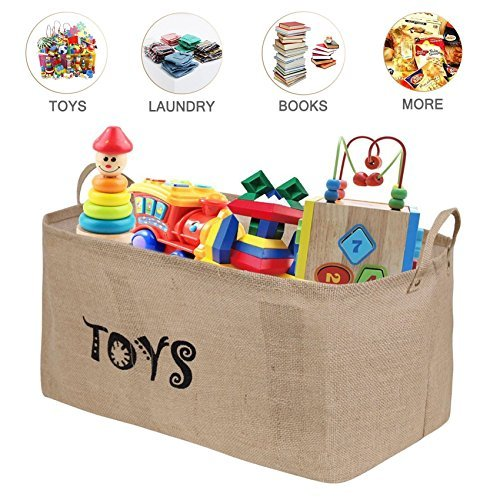 Bondream 22'' L x 13'' W x 11''Jute Toy Storage Toy Chest Bin Basket,Well Holding Shape,Water-Resistant,Collapsible Box Organizer Perfect for organizing Baby Toy,Kid Toy,Baby Clothing,Children Book