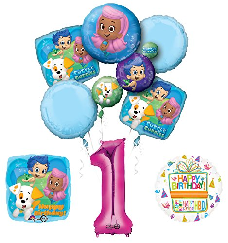 (Bubble Guppies 1st Birthday Party Supplies and Balloon Bouquet)