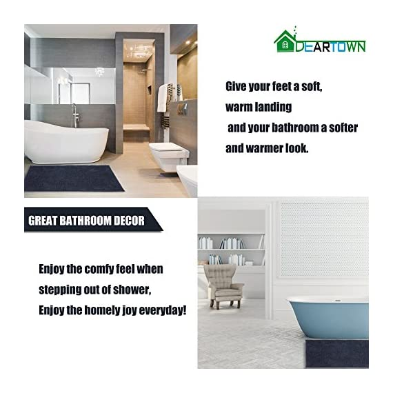 DEARTOWN Non-Slip Shaggy Bathroom Rug,Soft Microfibers Chenille Bath Mat with Water Absorbent, Machine Washable(Dark Grey,31x59 Inches) - GREAT ABSORBENCY: The chenille area rug can absorb water quickly, it has strong water-absorbent ability because of plenty of microfiber shags can keep your room floors dry and clean. Regularly be exposed to the sun to keep the mat always dry and clean. NON-SLIP: The non-slip bathroom mat for floor is backed with TP Rubber to prevent shifting and skidding. Please place the toilet rug on DRY SMOOTH FLOOR only. Water under the bathroom rug can cause it to slip. Keep bottom of the bath rug dry. PAMPER YOUR FEET: This bath mat for bathroom is constructed with thousands of individual microfiber shags, sink your toes into the comfortable contentment of a bathroom floor mat from threshold. Soft pile that soothes tired feet and shields toes from the cold floor. - bathroom-linens, bathroom, bath-mats - 51lWxn8qvRL. SS570  -
