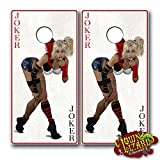 CL0076 Joker Pinup Girl CORNHOLE LAMINATED DECAL WRAP SET Decals Board Boards Vinyl Sticker Stickers Bean Bag Game Wraps Vinyl Graphic Image Corn Hole