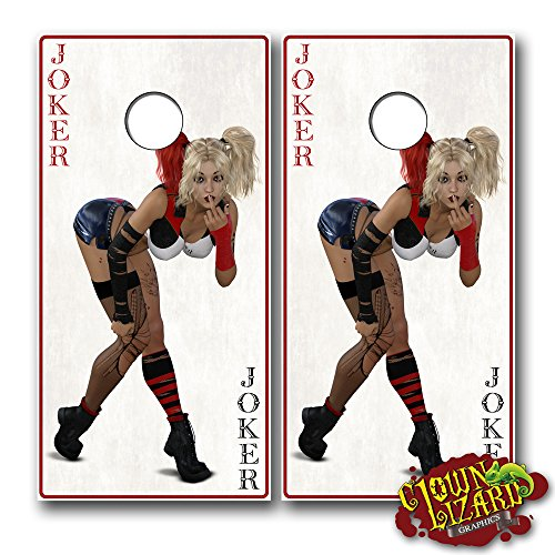 CL0076 Joker Pinup Girl CORNHOLE LAMINATED DECAL WRAP SET Decals Board Boards Vinyl Sticker Stickers Bean Bag Game Wraps Vinyl Graphic Image Corn Hole by Clown Lizard Graphics