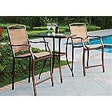 mainstays sand dune 3 piece high outdoor bistro set seats 2 metal outdoor furniture sets