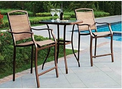 3 PC HIGH TOP BISTRO TABLE CHAIRS SET ~ SLINGBACK MATERIAL 2015 (Sets Patio Top Furniture High)