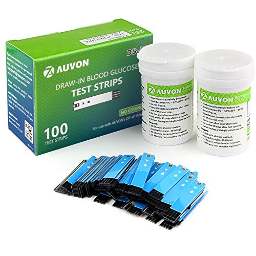 AUVON GDH Blood Glucose Test Strips (100 Count) for use with AUVON DS-W Diabetes Sugar Testing Meter (No Coding Required, 2 Box of 50 Each)