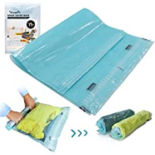 12 Travel Space Saver Bags Hand Rolling Compressible No Vacuum Needed Shrink Bags for Luggage Packing