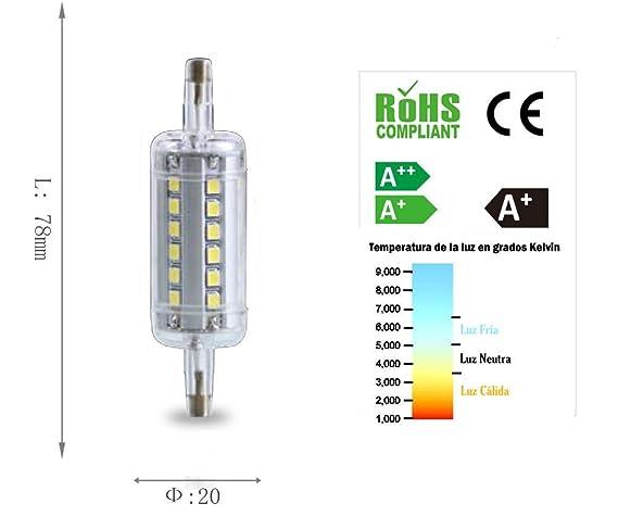 Homepluss - Bombilla LED R7s 78mm. 4200K 7W Equivalente a 150W