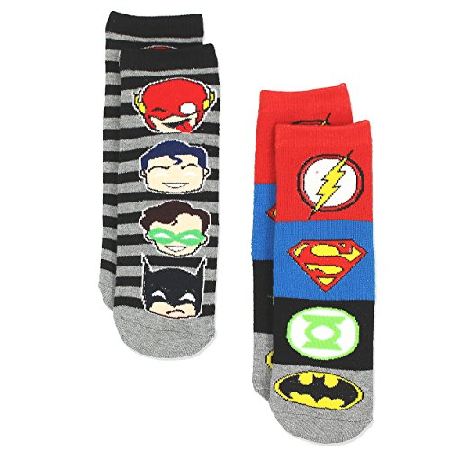 Justice League Boy's Teen 2 Pack Superhero Slipper Socks with Grippers (S-M Toddler (Shoe: 7-10), -