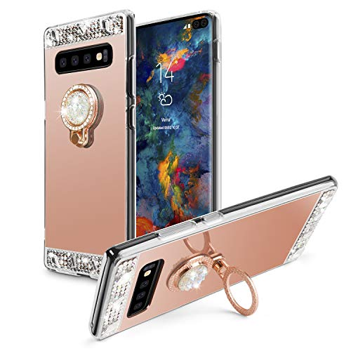online retailer ce482 c1007 Galaxy S10 Case,WATACHE Glitter Cute Shiny Bling Diamond Mirror Makeup  Protective Cover Case with