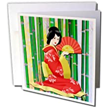 3dRose Ethnic - Geisha Girl with Stripped Background and Umbrella Fan - 1 Greeting Card with envelope (gc_265979_5)