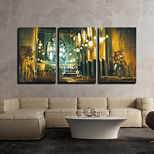 - wall26 - 3 Piece Canvas Wall Art - Beautiful Painting Showing Interior View of a Church and Dramatic Light - Modern Home Decor Stretched and Framed Ready to Hang - 24