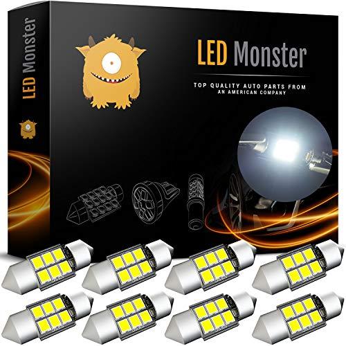 LED Monster 8-Pack 6 SMD 31mm LED Bulb CANBUS 3030 Festoon White Color Chipset Error-Free Festoon Lights Map Dome Door Light for DE3175 DE6428 ()