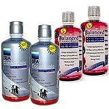 Wellgenix WGXBALSEA64B2 Balanced Essentials Liquid Multivitamins (2X32 oz) and Sea Essentials with Coral Calcium (2X32 oz), Berry Flavor (Pack of 4)