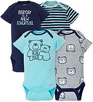 Gerber Baby Boy's 4-Pack Short-Sleeve Onesies Bodysuits Shirt, Blue,