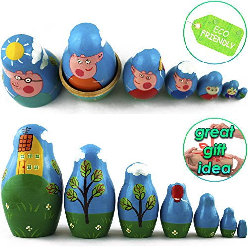Peppa Pig Nesting Stacking Dolls Matryoshka Toys Set 7 dolls 5.3 in by MATRYOSHKA&HANDICRAFT (Image #4)