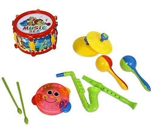 Dazzling Toys Rock Star Kids Music Set, Includes a Drum, Flute, Saxophone, Cymbol, Tambourine.