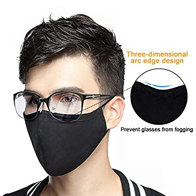 Worglo Mask,Washable Cotton PM2.5 Mouth Mask with 10 pcs Activated Carbon Filter Adjustable Reusable Windproof Face Masks