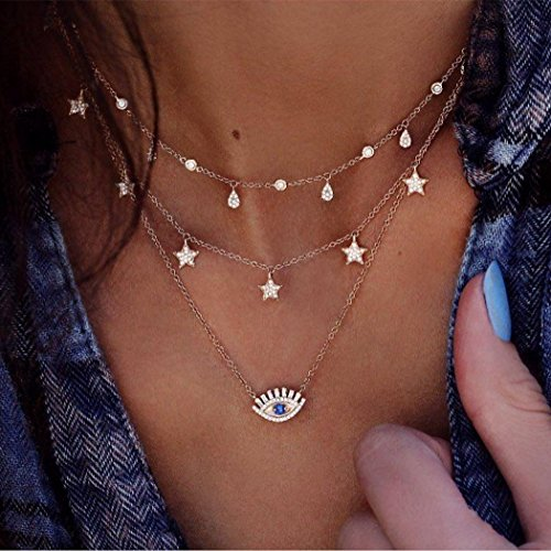 Edary Layered Necklaces Gold choker with Evil Eye rhinestone and Star Jewelry for Women and Girls