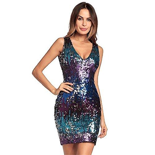 trasera vestidos Verano noche Sequin cuello Dress con mujeres cremallera en Prom Club Vestido noche Brillante estirar Fiesta morado profundo vestido de V Las mini Bodycon KqZWwgZUR