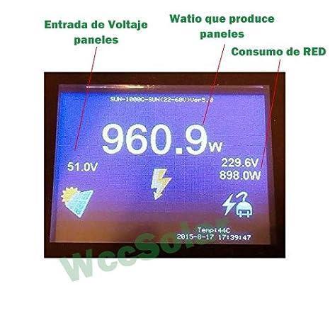 wccsolar Inversor Inyeccion a Red 2000w de vertido Cero PV Entrada 45-90V inversor autoconsumo: Amazon.es: Hogar