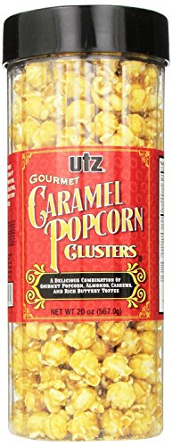 Utz Gourmet Popcorn Clusters, Caramel Nut Clusters - 19 oz. Barrel - Crunchy Popcorn Snack Mix with Almonds, Cashews, and Buttery Toffee, Trans Fat Free, Cholesterol Free, Gluten Free Snacks