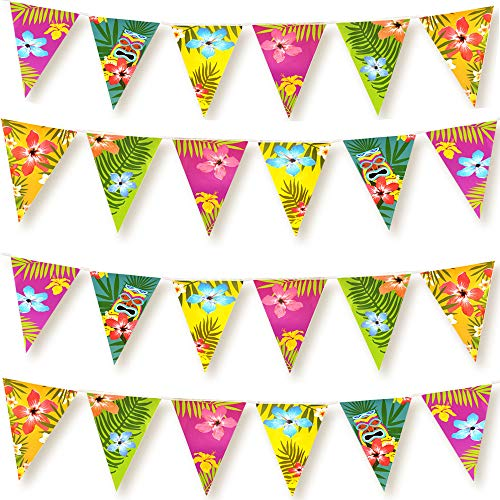 FEPITO 4 Pack Hawaiian Bunting Banner Luau Party Tropical Party Bunting Totally 12 Meters