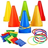 3 in 1 Carnival Games Set, Soft Plastic Cones Bean Bags Ring Toss Games for Kids Birthday Party Outdoor Games Supplies 26 Piece Combo Set