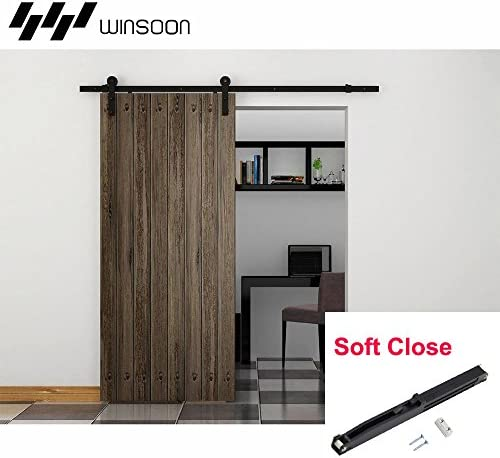 winsoon estantería Classic Slide Track rueda seguros en un lado abierto cierre suave único rodillo de puerta corrediza de granero Hardware Kit: Amazon.es: Bricolaje y herramientas