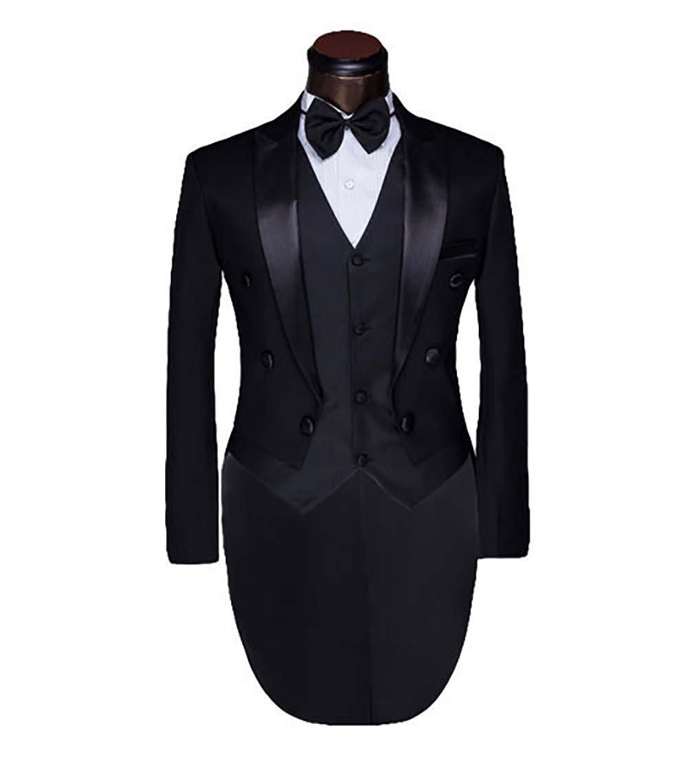 燕尾服 タキシード メンズ フォーマル 結婚式 イブニングコート ビジネス メンズスーツ セットアップ B076JB77CY XXXXXX-Large ブラック ブラック XXXXXX-Large