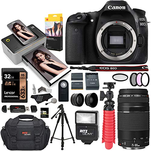 (Canon EOS 80D DSLR Camera, Kodak Print Dock with Paper, EF 75-300mm III Telephoto Lens, Tripod, Lexar 32GB U3 Memory Card Bundle)
