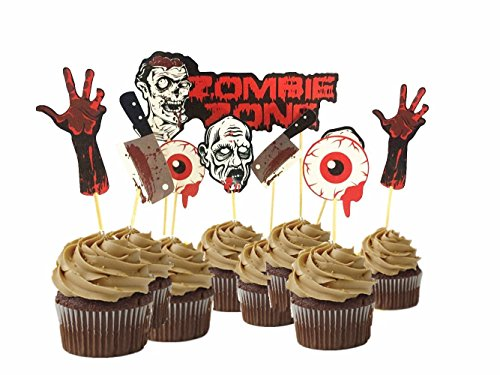 9pcs Scary Halloween Party Bloody Zombie Cupcake Toppers Cake Picks Table Dish Decoration -